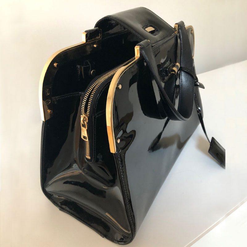 Handtasche YSL schwarz Lackleder